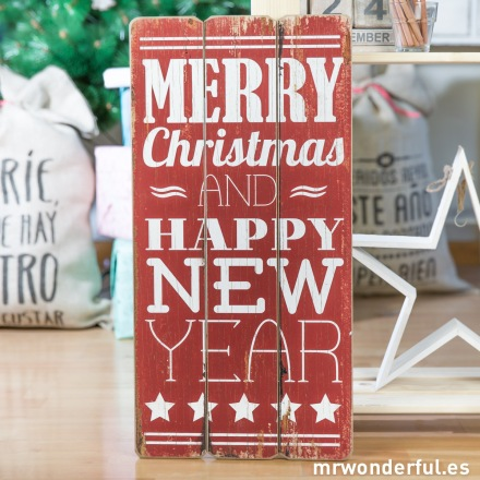 Mr.Wonderful letrero madera Merry christmas