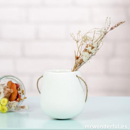 Mr.Wonderful jarrón pequeño de cerámica con cuerda para colgar
