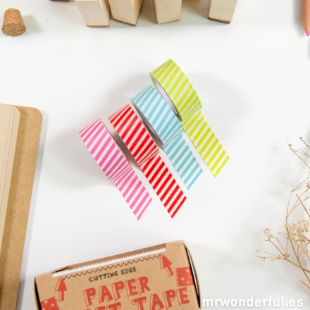 Mr.Wonderful washi tapes de rayas con dispensador
