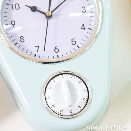 Mr.Wonderful reloj de cocina azul con temporizador