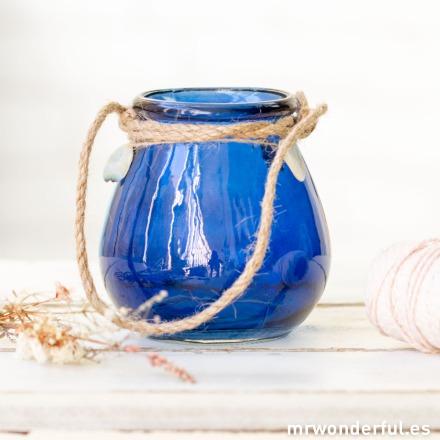 Mr.Wonderful portavelas de cristal azul con cuerda rústica