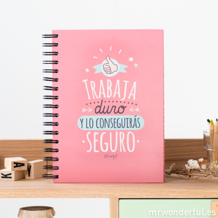 Mr.Wonderful libreta color Trabaja duro y lo conseguirás seguro