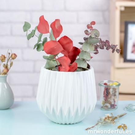 Mr.Wonderful jarrón estriado de cerámica de color blanco