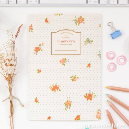 Mr.Wonderful libreta pautada estampado floral y topos azules