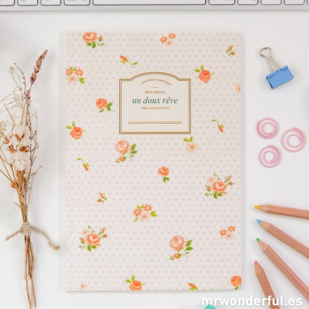 Mr.Wonderful libreta pautada estampado floral y topos lilas