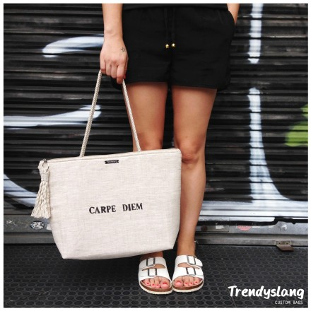 LINEN XL BAG CARPE DIEM TRENDYSLANG