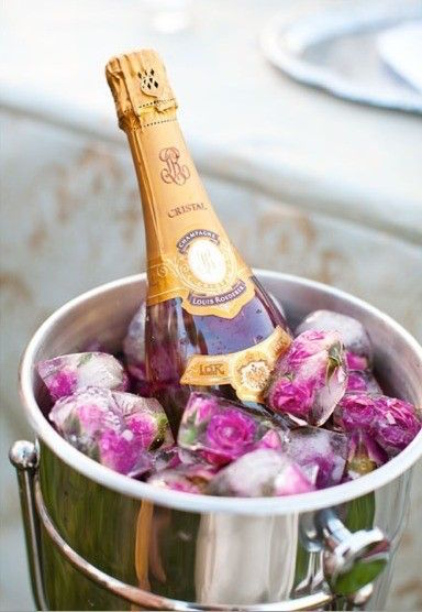 Rose-Petal-Ice-Cubes-in-Champagne-Bucket