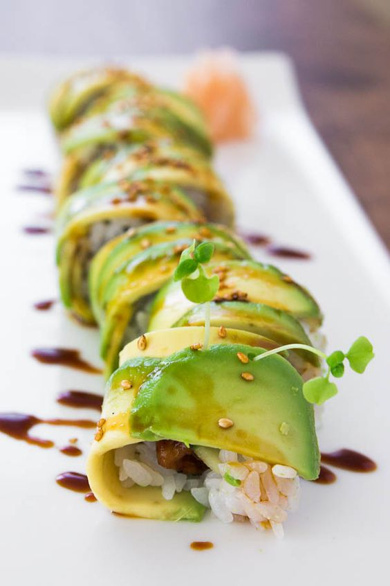 Unagi and cucumber rolled in sushi rice and wrapped in avocado.